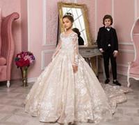 Маленькие принцессы цветок девочки платья с длинным рукавом 2020 Роскошные кружева аппликация Поезд стреловидности причастие День рождения Свадьба Маленькие девочки платье