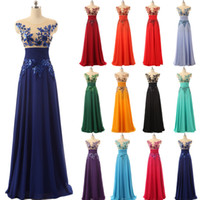 Under 50$ Elegant Floor Length Formal Evening Dresses Chiffon long Party Dresses with Appliques and Crystals Prom Dresses Hot Sale SD159
