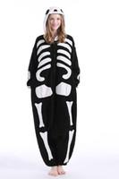 Disfraces cráneo adulto Kigurumi pijama de franela fiesta de Halloween Esqueleto Oneises Cosplay del mono de pijamas con capucha