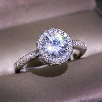 Luxus Weibliche Runde Zirkon Stein Ring Mode Eheringe Ringe Für Frauen Versprechen Liebe Verlobungsring
