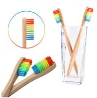 Brosse à dents écologique arc-en-bambou fibre douce Brosse à dents Biodégradable dents brosse poignée en bambou massif en bambou Brosse à dents
