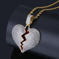 Solid Broken Heart Lced Out Necklace & Pendant Charm For Men...