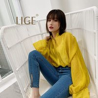 LIGE2019 spring new fashion temperament yellow micro- transpa...