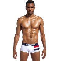 Homens Moda Roupa interior BSHETR Marca Homme Cueca Trunks Gay Boxer Shorts Cotton City Estilo Sexy Confortável Masculino Calcinhas Hot Sale