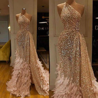 2020 Glitter Mermaid Evening Dresses Champagne Feather Sequi...