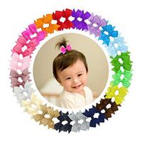 """80pcs / 2 """"Bowknot Grosgrain Ribbon Hair Bow med Alligator Clips för Baby Girl Toddler Kids Hair Tillbehör Bow-Tie Butterfly Knot Handgjorda"""