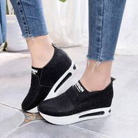 Women Slip On Vulcanize Shoes Casual Creepers Platform Shoes...