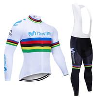 2020 Movistar equipo manga larga Conjunto de jersey Ciclismo pantalones de babero Ropa de Ciclismo Ropa bicicleta VTT bicicleta