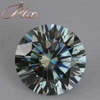 nişan elmas yüzük 1CT yuvarlak mavi Toptan mavi renk yuvarlak pırlanta kesim gevşek sentetik moisanit elmas