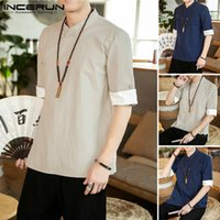 INCERUN Men Short Sleeve T Shirts Stand Collar Solid Color T...
