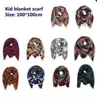 Baby Knitted Plaid Scarves Outdoor Causal Winter Warm Crochet Ski Scarf Fashion Kids Knit Check Scarf TTA1661
