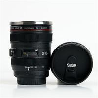 Regalos Viajes 24-105mm lente de la cámara del café taza de té de la taza de la lente taza creativa de acero inoxidable cepillado delineador negro