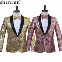 Shenrun رجل الوردي الذهب زهرة الترتر يتوهم براق الزفاف المغني المرحلة الأداء دعوى سترة السنوي dj السترة مع القوس التعادل