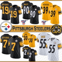 19 JuJu Smith-Schuster Pittsburgh Football Jersey Steeler 90 T.J. Watt 39 Minkah Fitzpatrick 7 Ben Roethlisberger 55 Devin Bush jerseys