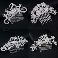 New Silver Color Rhinestone Flower Leaf Bridal Hair Comb for...