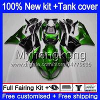 Body + réservoir pour KAWASAKI ZX636 ZX6R 2009 2010 2011 2012 206MY.13 noir Vert ZX 6 R 636 600CC ZX636 ZX600 ZX 6R ZX6R 09 10 11 12 carénages