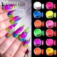 12colors / set Neon Pigment Nagel-Puder-Staub Ombre Nagel-Funkeln-Gradient Glitter Iridescent Acryl Puder-Nagel-Kunst-Dekoration
