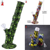 유리 석유 버너 물 봉 VS 유리 파이프 창조적 인 디자인 물 담뱃대 버블 봉 실리콘 금연 파이프 흡연