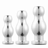 El sexo anal del hueco del metal de las mujeres de los hombres Massager de la próstata enchufe del extremo Enema Juguetes eróticos A098