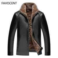 FAVOCENT New Men' s Leather Jacket PU Coats Mens Brand C...