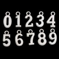 도매 패션 합금 보석 0-9 숫자 펜던트 매력, 100pcs / lot, 각 10 개, AAC714