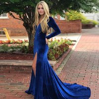Long Sleeves Velvet Mermaid Prom Dresses Deep V Neck Split S...