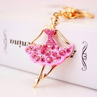 Creative cute diamond-studded ballet girl car key chain Women's bag accessories key chain small gift gift