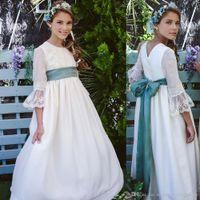 رومانسية الرباط الفرنسية زهرة فتاة فساتين vestidos جوهرة ليتل زفاف العروس الأميرة الأولى بالتواصل مع قطار أثواب
