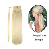 Soft Straight Human Hair Ponytail Extensions One Piece Solid Platinum Blonde #60 wraps blond pony tail hair pi
