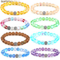 Colorful Natural Flash Stone Beaded Bracelet for Women Men D...