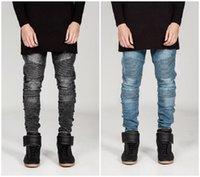 Mens jeans stretch Carga Denim preto motociclista Jeans Homens Mulheres com clássico Mens plissadas Skinny Pants