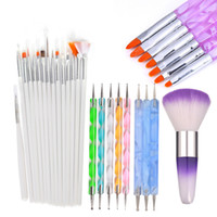 WGAFON Acrílico Nail Art Brush Kit UV Gel Polaco Pintura Dibujo Pinceles Pluma Nail Dotting Manicure Clean Brush Herramientas