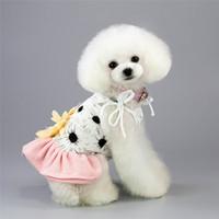 Haustier Hund Streifen Sonnenblume Kleid Hund Blume Miniröcke Sommer Hunde Kleidung Schwarz Rosa Drop Ship 360046