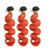 Ombre orange-Körper-Wellen-malaysisches Menschenhaar 3 Bundles 300gram # 1B / orange Ombre Jungfrau-Menschenhaar-Einschlagfaden-Extensions Dunkle Wurzeln Mischlänge