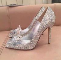 أعلى درجة سندريلا أحذية كريستال أحذية الزفاف حجر الراين الزفاف مع زهرة جلد طبيعي كبير حجم صغير 34 إلى 42