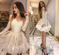 Little White Dress Short Lace Prom Cocktail Dresses with Detachable Long Sleeve 2020 Sweetheart A-line Occasion Evening Party Gowns
