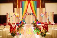 2019 Buz İpek kumaş düğün backgroups bebek çocuk duş parti dekor doğum günü Backdrop Perde Gökkuşağı Düğün dize Arka Plan Perde