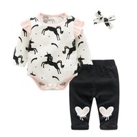 Newborn Baby Girl unicorn Leopard Print fly sleeved Rompers ...