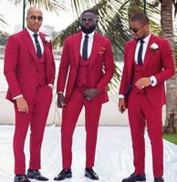 Hochzeit Smokings für Groom Wear 2020 Groomsman Kleidung Abschlussball-Partei Slim Fit Business Men 3 Stück Set-Anzüge (Jacket + Vest + Pants) Tailor Made