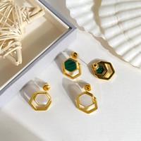 여성 매력의 보석 도매 티타늄 스틸 브랜드 패션 럭셔리 디자이너 새로운 귀걸이 다각형 공작석 귀걸이 사랑