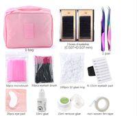 PROFESSIONAL FALSO Ciglia EyeLashes Set Innesto Eye Colli Eye Pads Tweezers Glue Anello Brush Tape Kit con borsa