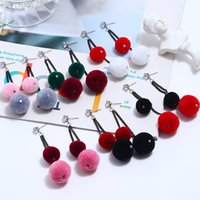 New Design Wool Ball Women Earrings Colorful Fringed Earring...