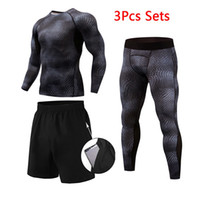 New High Quality Compression Men' s Sport Suits 3Pcs Qui...