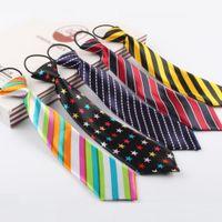Necktie Kid's Kindergarten Corbatas Imprimir Corbatas de dibujos animados para niños Start Dot Star Polyester Corbata Cuerda Elástica 5pcs / Lot
