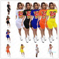 2020 Kadın Şort Setleri Yaz Tasarım Eşofman Karikatür Dudaklar Harfler Baskı T Gömlek + Biker Şort 2 adet Suit Trendy Spor Kıyafet D5705