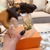 Luxurys designers bolsas bolsas mulheres saco cosmético famosos caixa transparente de alta qualidade moda pvc geléia de bolsa clara com carteira de lenço de seda