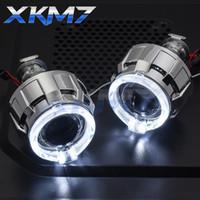 Lentes de los faros Angel Eyes LED H4 H7 HID proyector del BI-xenón 2.0 Lens DRL halo luces corrientes para los accesorios Ajuste del coche Estilo
