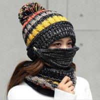 Beanie bufanda máscara 3pcs caliente Conjunto Invierno mujer ganchillo orejeras de punto sombreros al aire libre del casquillo a prueba de viento