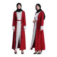 Muçulmano Ramadan Árabe Oriente Médio Oração Islâmica Roupas Bordados Abaya Lace Maxi Vestido Cardigan Robe Longos Vestidos de Túnica Kimono