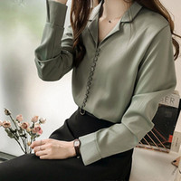 Woman' s Social Blouse Solid V Neck Shirt Female Long Sl...